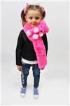 Меховой шарф Мишка для взрослых и детей Ярко-розовый