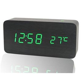 LED Деревянные настольные LED часы с термометром SLT-6035 (зелёные символы)