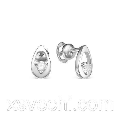 Серебряные серьги 925 пробы с бесцветными фианитами - 939