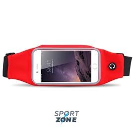 Сумка-чехол спортивная на талию водонепроницаемая, универсальный чехол для смартфонов. Красная.