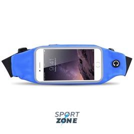 Сумка-чехол спортивная на талию водонепроницаемая, универсальный чехол для смартфонов. Синяя.
