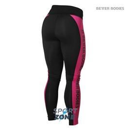 Спортивные лосины Better bodies Side panel tig, черные с розовым