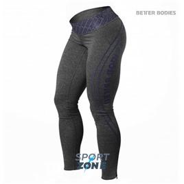 Спортивные леггинсы Better bodies Shaped logo ti, серые с фиолетовым
