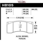 КОЛОДКИ ТОРМОЗНЫЕ HB105N.620 HAWK HP PLUS ALCON, WILWOOD, BREMBO, JBT FB4P1
