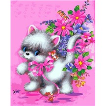 "Картина для рисования по номерам ""Белый котенок"" арт. GX 5260"