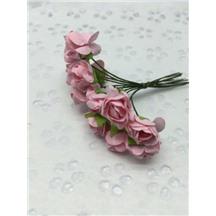Букетик роз бумажный цвет: нежно-розовый (pink). Размер цветка 15мм