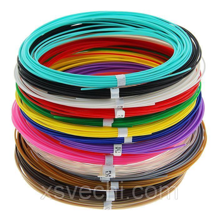 Пластик PLA-15, по 10 м, 15 цветов в наборе