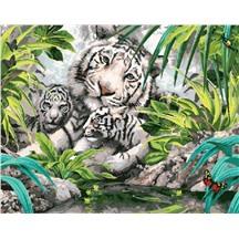 """Картина для рисования по номерам """"Белые тигрята"""" арт. GX 7877 m"""