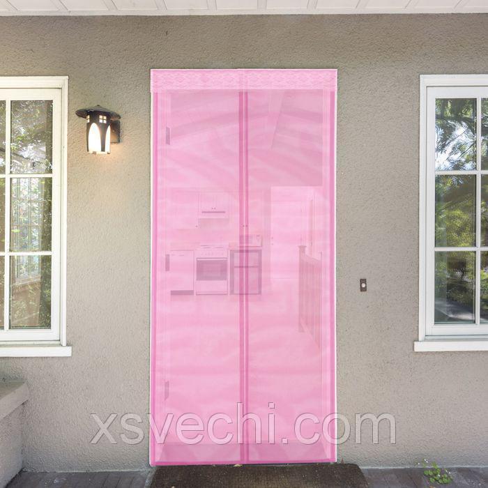 Сетка антимоскитная на магнитной ленте 80x210 см, цвет розовый