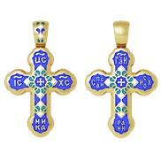 """Крест """"Спаси и сохрани"""" № 19.009 синяя эмаль, серебро 925° с позолотой"""