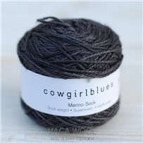 Пряжа Merino Sock solid Уголь, 160м/50г., Cowgirlblues, Charcoal