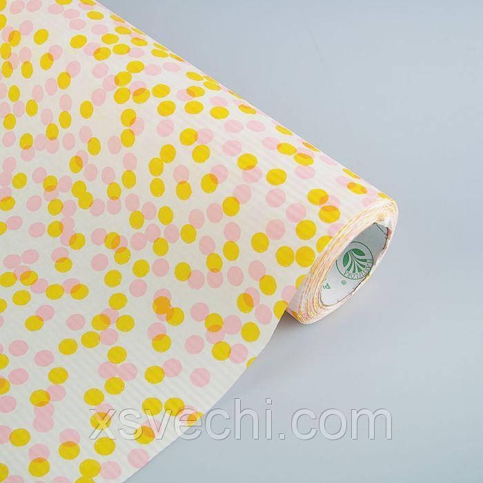 "Бумага упаковочная крафт ""Горохи"", лимонно-розовый, 0.5 х 10 м"