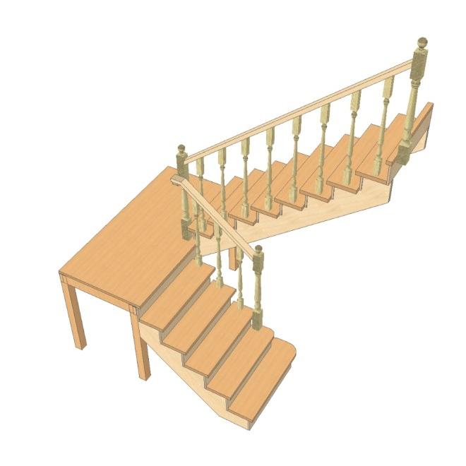 Лестница на 180 градусов с площадкой своими  902