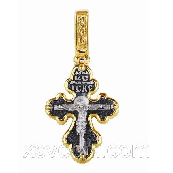 Позолоченный крест из серебра с чернением  010 - п