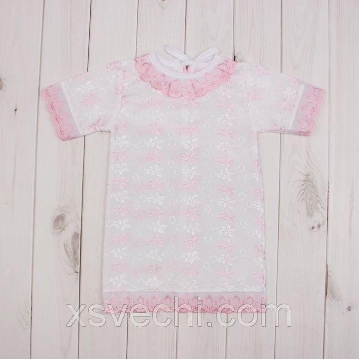 Платье крестильное, рост 68 см, цвет розовый 15013_М