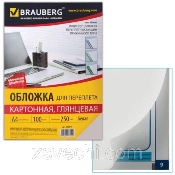 Обложки для переплета 100 штук, глянцевые, А4, картон 250г/м2, белые