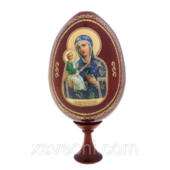 """Сувенир Яйцо на подставке икона """"Божья Матерь Иерусалимская"""""""
