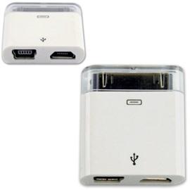 Переходник адаптер 2 в 1 (MC538ZM/A) для iPhone с MicroUSB и MiniUSB на 30pin (европакет)