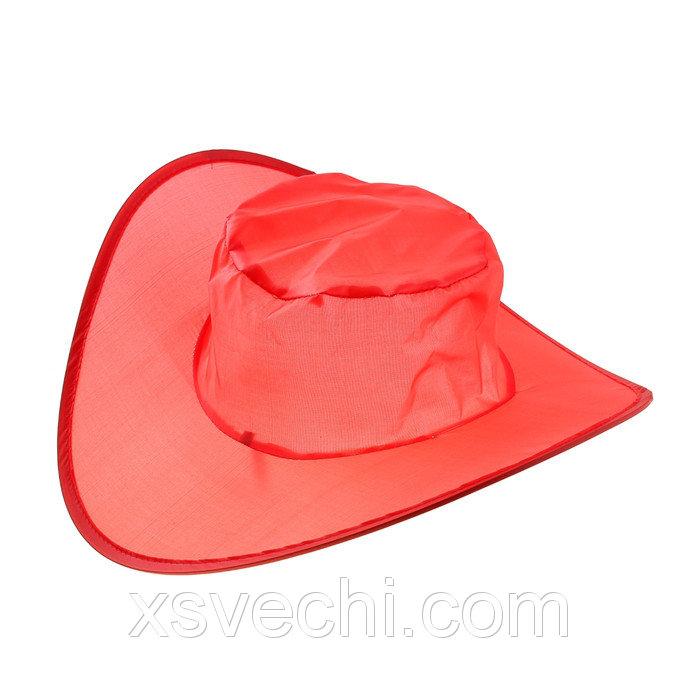 Шляпа складная в чехле, цвет красный, обхват головы 58 см, ширина полей 9 см