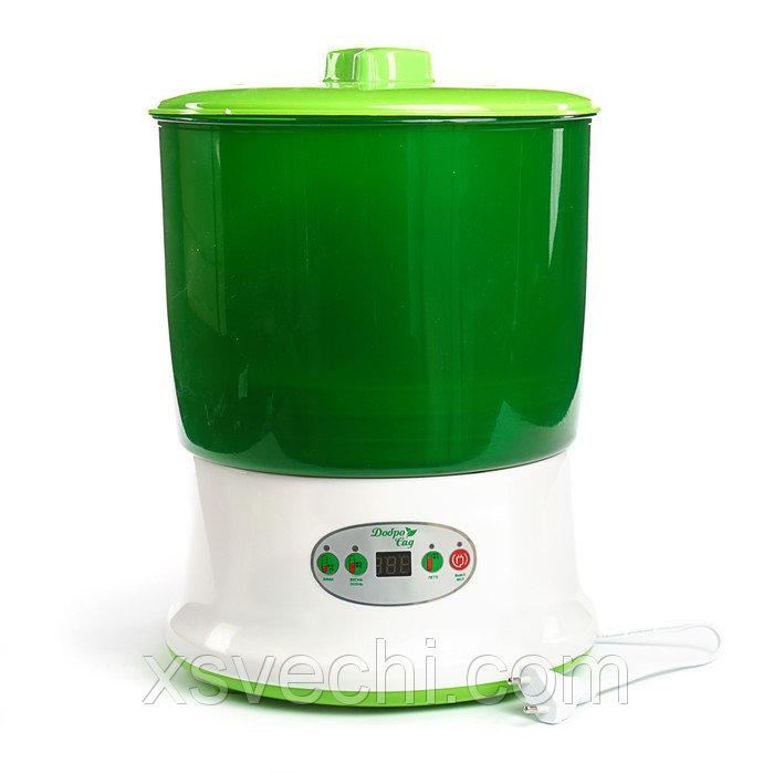 Проращиватель семян ДоброСад изобилие PRO DS03T, с таймером, доп. лоток, зеленый