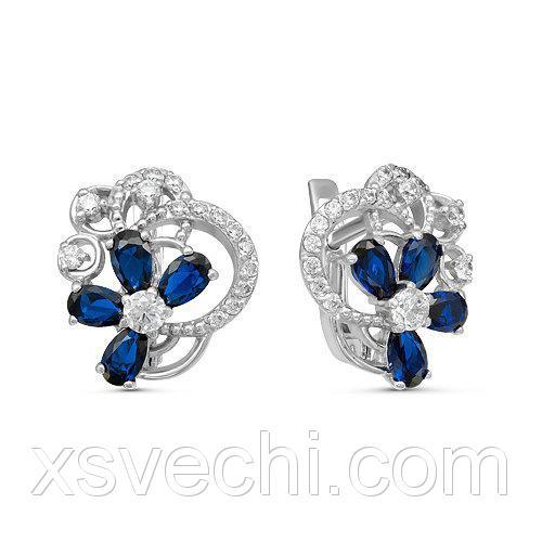 Серебряные серьги с фианитами синего цвета 007