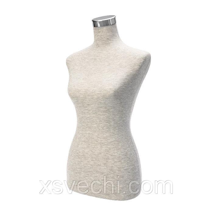 Манекен портновский, женский, пенопласт H70см, плечи35см, бедра30см(полуобхват), цвет серый 277216