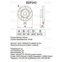 BDF040. Передняя ось. Перфорация + слоты