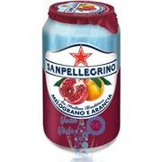 Упаковка газированного сокосодержащего напитка SanPellegrino Melograno E Arancia (гранат-апельсин) 0,33 в банке - 24 шт.