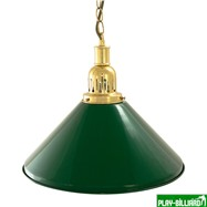 Weekend Лампа на один плафон «Evergreen» (золотистая чашка, зеленый плафон D35см), интернет-магазин товаров для бильярда Play-billiard.ru. Фото 1