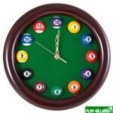 """Часы настенные """"12 шаров"""" D27 см (черные), деревянные, интернет-магазин товаров для бильярда Play-billiard.ru"""
