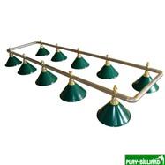 Weekend Лампа на десять плафонов «Evergreen» (серебристо-золотистая штанга, зеленый плафон D35см), интернет-магазин товаров для бильярда Play-billiard.ru