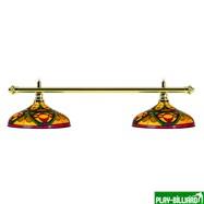 Лампа на два плафона «Colorful» (золотистая штанга, цветной плафон D44см), интернет-магазин товаров для бильярда Play-billiard.ru