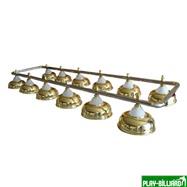 Лампа на двенадцать плафонов «Crown» (серебристая штанга, золотистый плафон D38см), интернет-магазин товаров для бильярда Play-billiard.ru