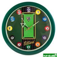 Weekend Часы настенные «12 шаров» D30 см (зеленые), пластик, интернет-магазин товаров для бильярда Play-billiard.ru. Фото 1