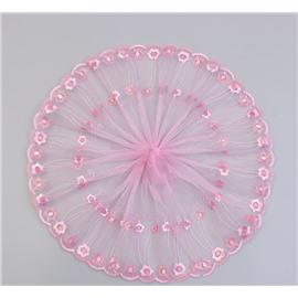 Розовое кружево с цветами 23 см
