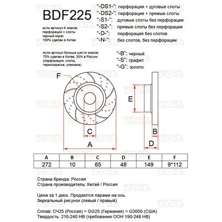 BDF225-N-G - ЗАДНИЕ