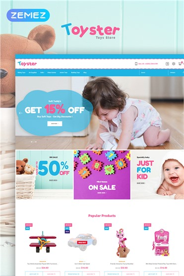 Toyster - Toy Store Clean Bootstrap Ecommerce