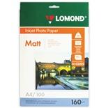 Фотобумага для струйной печати Lomond А4, 160 г/м2, 100 листов, односторонняя матовая 0102005