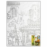 Холст грунтованный на картоне с контуром Brauberg Art Classic Города 30х40 см, хлопок 190630